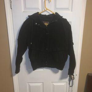 Women's hooded Black leather coat